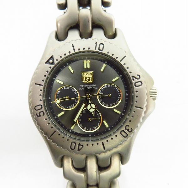 ELGIN/エルジン ダイバーズ 200m チタニウム クォーツ/ウォッチ/腕時計 FK-668-A【動作未確認】
