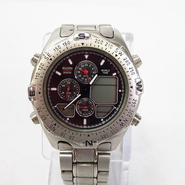 ELGIN/エルジン クロノグラフ ワールドタイム 腕時計 FK-671-C【動作未確認】
